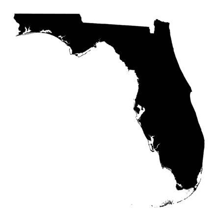 Detailed isolated bw map of Florida, USA. Mercator projection. photo