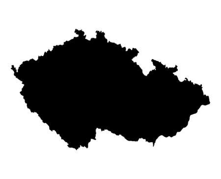 Detailed isolated map of Czech Republic, black and white. Mercator Projection. Stock Photo - 2037242