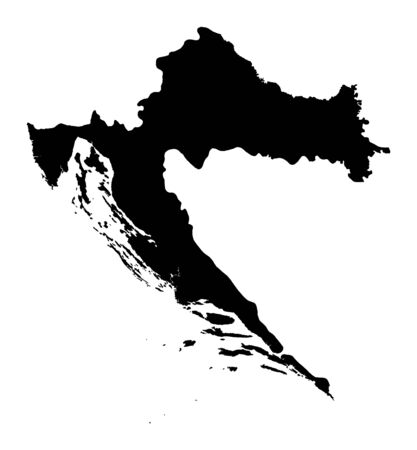 Detailed isolated map of Croatia, black and white. Mercator Projection.
