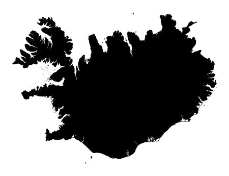 iceland: Detailed isolated map of Iceland, black and white. Mercator Projection. Stock Photo