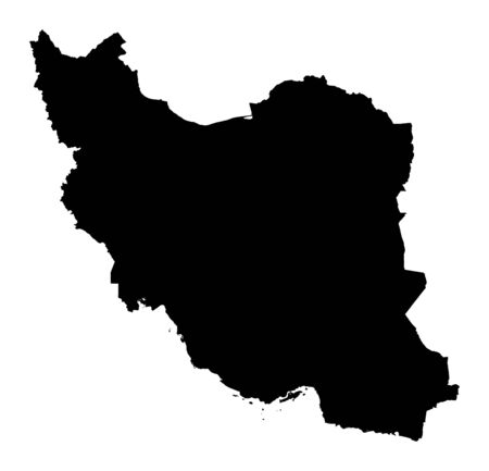 Detailed isolated map of Iran, black and white. Mercator Projection.