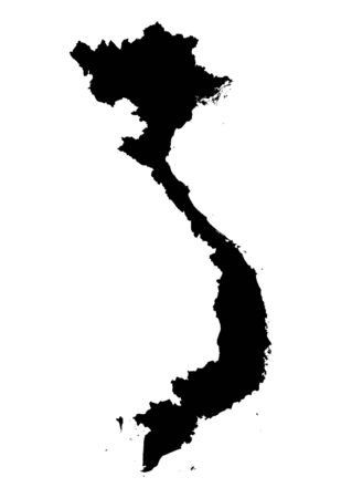 vietnam: Detailed isolated map of Vietnam, black and white. Mercator Projection. Stock Photo