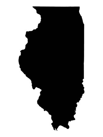 bw: Detailed isolated bw map of Illinois, USA. Mercator projection. Stock Photo