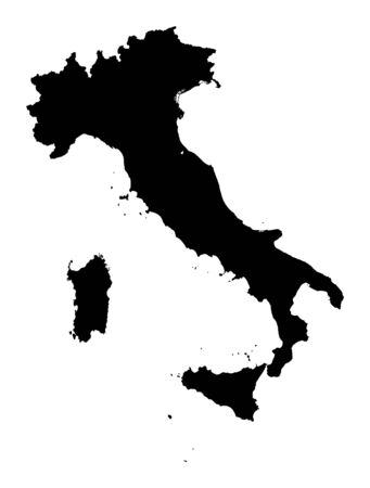 Detailed isolated map of Italy, black and white. Mercator Projection.