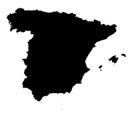 Detailed isolated map of Spain, black and white. Mercator Projection.