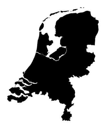 Detailed isolated map of Netherlands, black and white. Mercator Projection. Stockfoto