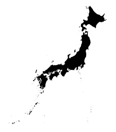 Detailed isolated map of Japan, black and white. Mercator Projection.