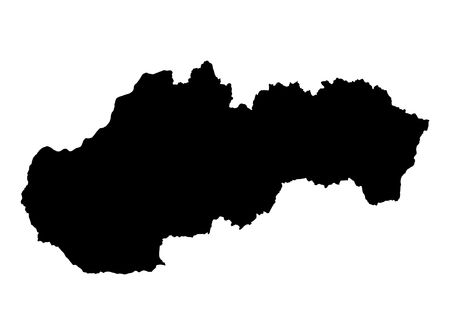 slovakia: Detailed isolated map of Slovakia, black and white. Mercator Projection.