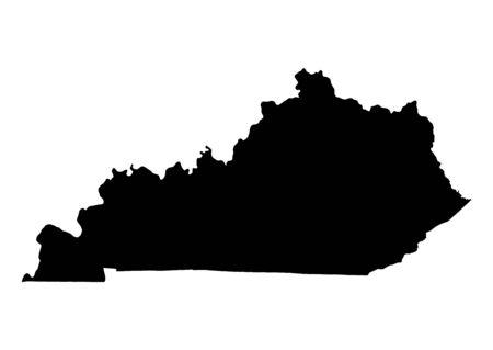kentucky: Detailed isolated bw map of Kentucky, USA. Mercator projection. Stock Photo