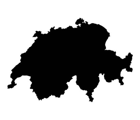 switzerland: Detailed isolated map of Switzerland, black and white. Mercator Projection. Stock Photo