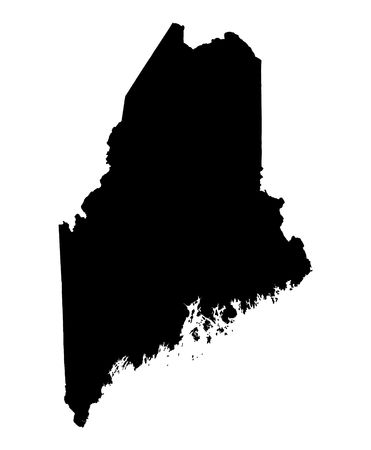 maine: Detailed isolated bw map of Maine, USA. Mercator projection.