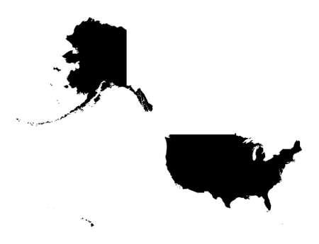 Detallada aislados mapa de Estados Unidos, blanco y negro. Proyecci�n de Mercator.  Foto de archivo - 2045220