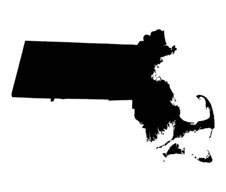bw: Detailed isolated bw map of Massachusetts, USA. Mercator projection. Stock Photo