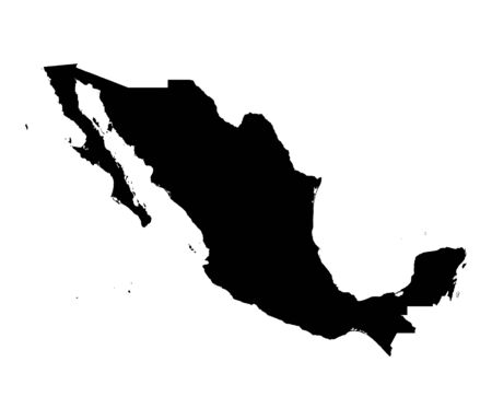 Detailed isolated map of Mexico, black and white. Mercator Projection.