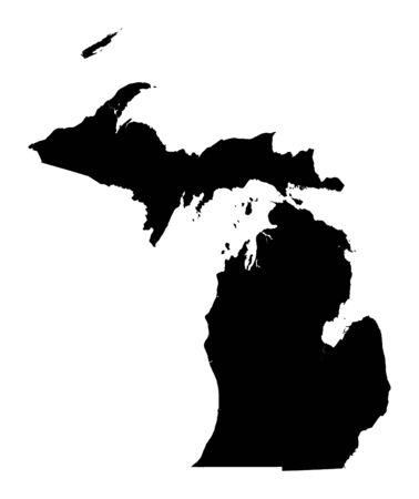 Detailed isolated bw map of Michigan, USA. Mercator projection.
