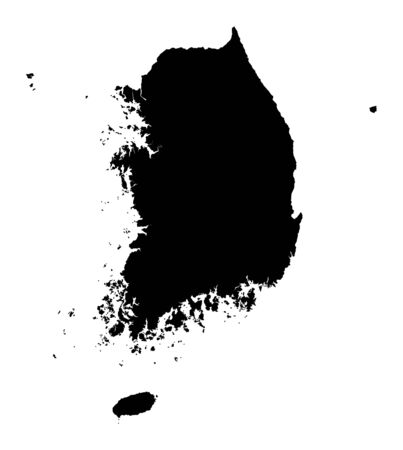 Detailed isolated map of South Korea, black and white. Mercator Projection. photo