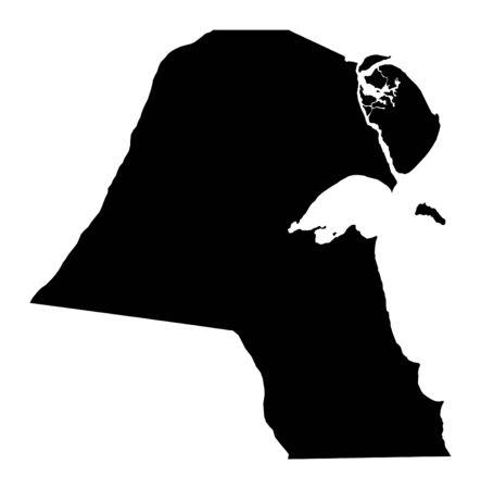 koweit: Isol� carte d�taill�e du Kowe�t, en noir et blanc. Mercator Projection. Banque d'images