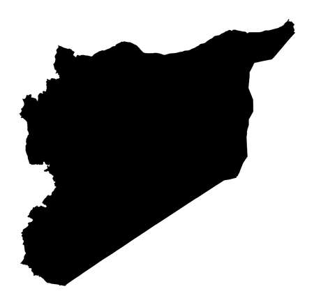 syria: Detailed isolated map of Syria, black and white. Mercator Projection.