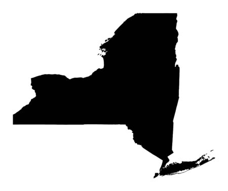 new york map: Detailed isolated bw map of New York, USA. Mercator projection. Stock Photo