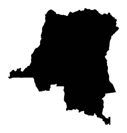 Detailed isolated map of Democratic Republic of the Congo, black and white. Mercator Projection.