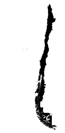 Detailed isolated map of Chile, black and white. Mercator Projection. Stock Photo