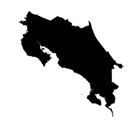 Detailed isolated map of Costa Rica, black and white. Mercator Projection.