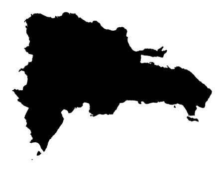 republic of dominican: Detailed isolated map of Dominican Republic, black and white. Mercator Projection.