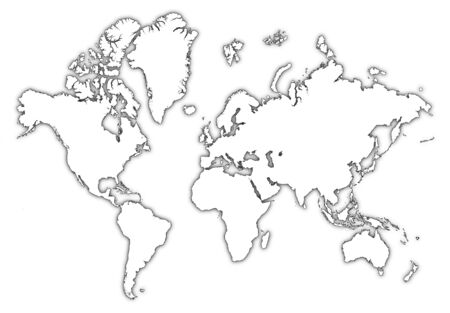 world map outline: Detailed bw outline map of the world with shadow. Stock Photo