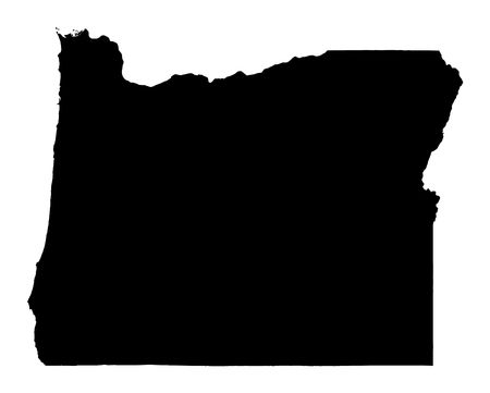 Detailed isolated bw map of Oregon, USA. Mercator projection.