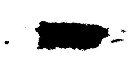 Aislados mapa detallado de Puerto Rico, en blanco y negro. Proyección de Mercator. Foto de archivo - 2066506