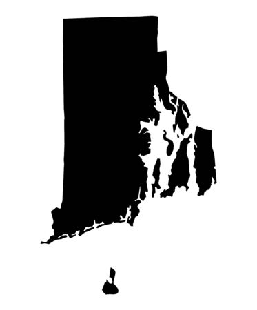 Detailed isolated bw map of Rhode Island, USA. Mercator projection.