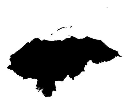 Detailed isolated map of Honduras, black and white. Mercator Projection. Stock Photo - 2071237