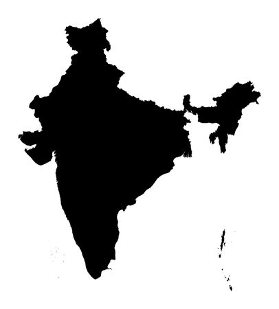 Detailed isolated map of India, black and white. Mercator Projection.