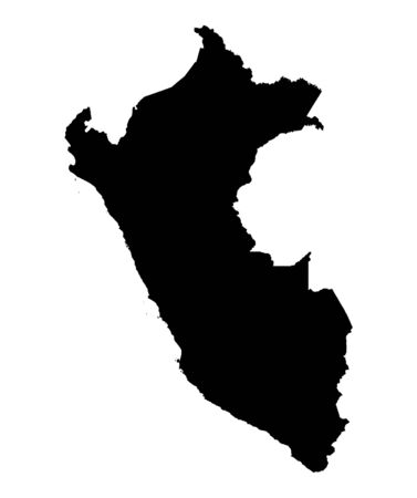 Detailed isolated map of Peru, black and white. Mercator Projection.
