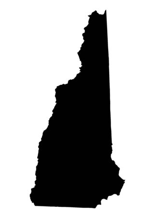 Detailed isolated bw map of New Hampshire, USA. Mercator projection. photo
