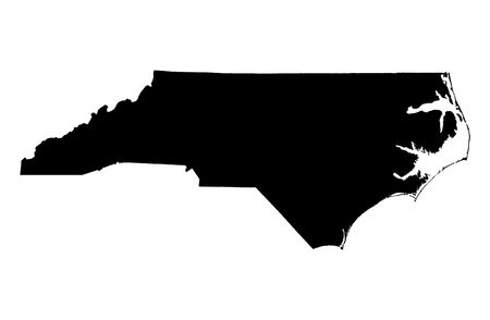 Detailed isolated bw map of North Carolina, USA. Mercator projection. Stock Photo