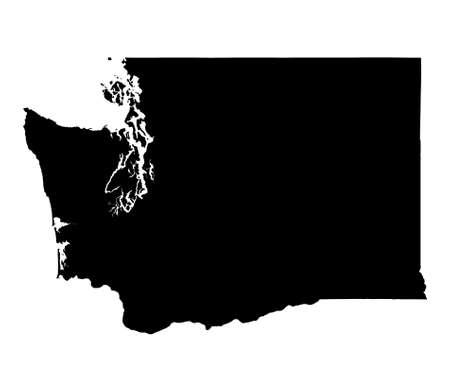mercator: Detailed isolated bw map of Washington, USA. Mercator projection.