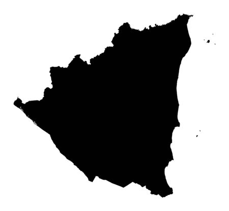 fill: Detailed isolated map of Nicaragua, black and white. Mercator Projection.