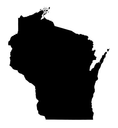 mercator: Detailed isolated bw map of Wisconsin, USA. Mercator projection.