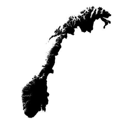 mercator: Detailed isolated map of Norway, black and white. Mercator Projection. Stock Photo