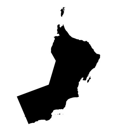 fill: Detailed isolated map of Oman, black and white. Mercator Projection.