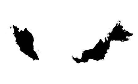 outline maps: Detailed isolated map of Malaysia, black and white. Mercator Projection.