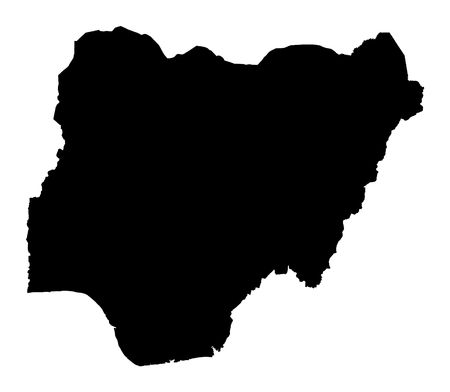 Detailed isolated map of Nigeria, black and white. Mercator Projection. photo