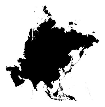 detailed Asia continent map. black and white, mercator projection. Stock Photo
