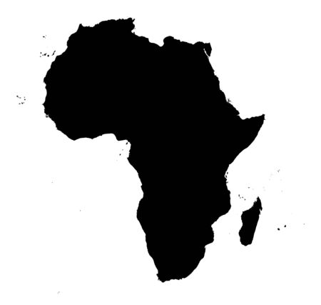 detailed Africa continent map. black and white, mercator projection. Stock Photo