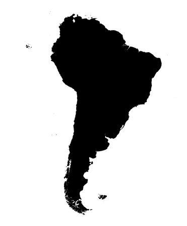 América del Sur detallado mapa más detallado. en blanco y negro, proyección de Mercator.  Foto de archivo - 2079601