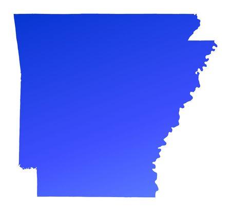 mercator: Blue gradient Arkansas map, USA. Detailed, Mercator projection.