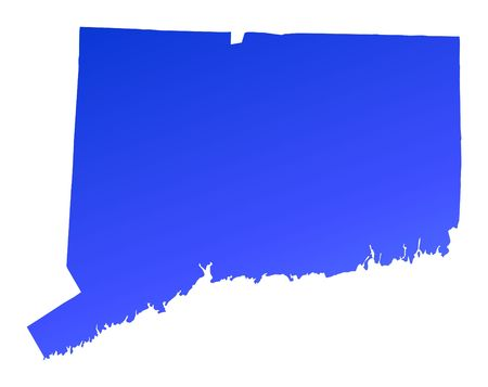 connecticut: Blue gradient Connecticut map, USA. Detailed, Mercator projection.
