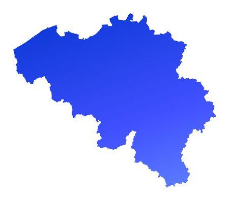 shading: Blue gradient Belgium map. Detailed, Mercator projection.