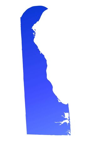 mercator: Blue gradient Delaware map, USA. Detailed, Mercator projection.